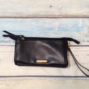 Madden Girl Black Leather Wristlet Clutch Wallet